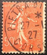 199°3° Corse Pietra Di ... Semeuse 50c Rouge Oblitéré 1927 - 1921-1960: Moderne