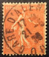 199°6° Gare D'Alençon Orne Semeuse 50c Rouge Oblitéré - 1921-1960: Periodo Moderno