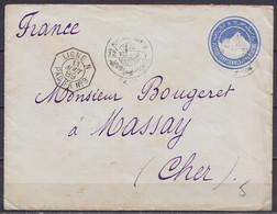 """Egypte - EP Env. """"une Piastre"""" (Sphinx & Pyramide) Càd """"PORT SAID /12 VIII 1889"""" Pour MASSAY Cher - Càd Octogon. """"LIGNE - Spoorwegpost"""