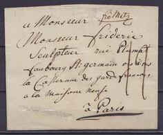 """LSC (sans Contenu) De COBLENZ Daté 21 Juillet 1788 Pour PARIS - Marque En Creux """"DE COBLENCE"""" - Man. """"fco Metz"""" (franco) - 1701-1800: Precursors XVIII"""