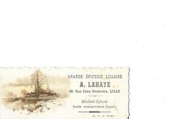 LILLE   CARTON PUBLICITAIRE   GRANDE EPICERIE LILLOISE A. LAHAYE  69 RUE GAMBETTA  11 X 4.5 CMS      DEPT 59 - Lille