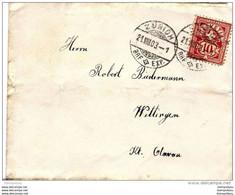 87 - 54 - Enveloppe Envoyée De Zürich à Wettingen 1903 - Covers & Documents