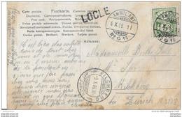 """1 -  21 - Carte Postale Avec Superbes Cachets """"Ambulant"""" Et Linéaire Locle 1906 - Covers & Documents"""
