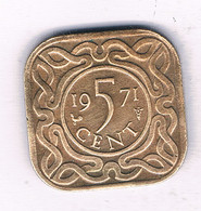 5 CENTS  1971 (mintage 500000 Ex) SURINAME /3740/ - Surinam 1975 - ...