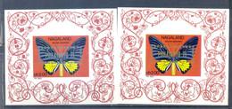 NAGALAND 2 BLOCKS BUTTERFLIES IMPERFORED OVERPRINT GOLD AND SILVER PHILATOKYO 1971 MNH - Schmetterlinge