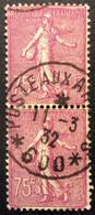 202°1°  Poste Aux Armées 600 Semeuse 75c Lilas Rose Oblitéré 11/3/1932 Paire Verticale - 1921-1960: Periodo Moderno