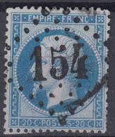 FRANCE CLASSIQUE : EMPIRE DENTELE N° 22 OBLITERATION GC 154 ARGENTAT CORREZE - 1862 Napoleon III