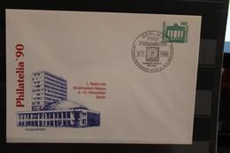 DDR 1990, Ganzsache: Philatelia '90; Wertstempel  50 Pf. Bauwerke Und Denkmäler, Brandenburger Tor - Privatumschläge - Gebraucht