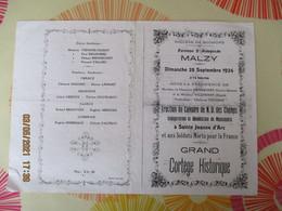 MALZY PAROISSE Ste ALDEGONDE DIMANCHE 28 SEPTEMBRE 1924 ERECTION DU CALVAIRE DE N.D. DES CHAMPS CORTEGE HISTORIQUE COPIE - Religion & Esotericism