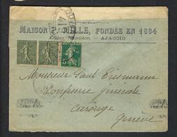 FRANCE Guerres 1917: LSC D'Ajaccio (Corse) Pour La Suisse  Affr. à 35c Avec Paire Du Y&T 130 Et 137, Censure Française - Wars