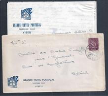 Charter Of Grande Hotel Portugal, Viseu. Obliteration Of Viseu 1949. Caravel. Logo Da Mocidade Portuguesa. - Lettere