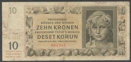 Ref. 6638-7144 - BIN BOHEMIA AND MORAVIA . 1942. BOHEMIA AND MORAVIA 10 KRONEN 1942 - Czechoslovakia