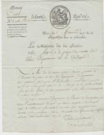 REVOLUTION: Lettre De LAMBRECHT Avec Signature Manuscrite, Ministre De La Justice, Du 5 Frimaire An 7. - Documentos Históricos