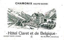 CPA 74 Chamonix BELGIQUE PUBLICITE COMMERCE HOTEL CLARET ET DE BELGIQUE  VOIR IMAGES - Chamonix-Mont-Blanc