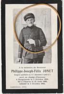 ARMEE BELGE -Philippe Joseph- Félix Jonet, Sergent Au1erchasseurs à Pied - Obituary Notices