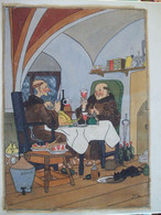 19032021 - DESSIN PEINT HUMORISTIQUE SUR LES MOINES SIGNE GUY DATE 15/01/1950 - Popular Art