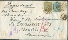 ½a. + 4a. Obl. Dc CALCUTTA Sur Lettre Recommandée (Registered) Du 3 Février 1898 Vers Berlin, Via Bombay Et Brindisi- S - 1882-1901 Empire