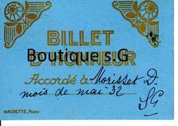 Billet D Honneur Accordé A Morisset D 1932 Hachette Paris - Diploma & School Reports