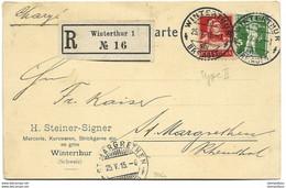 169 - 11 - Carte Recommandée Envoyée De Winterthur 1915 - Briefe U. Dokumente
