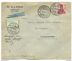 """25 - 53 - Enveloppe Avec Superbes Cachets à Date Untereggen 1914 - étiquette """"Inconnu"""" - Covers & Documents"""