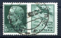 1942 REGNO Propaganda Di Guerra N.3 USATO 25 Centesimi Verde AERONAUTICA - Oorlogspropaganda
