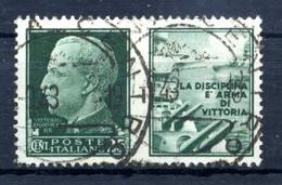 1942 REGNO Propaganda Di Guerra N.1 USATO 25 Centesimi Verde MARINA - Oorlogspropaganda
