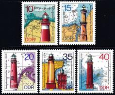 ! GERMAN DEMOCRATIC REPUBLIC - Scott #1553-1557 Lighthouses / Set Of 5 MNH Stamps (k5791) - Leuchttürme