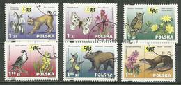 POLAND Oblitéré 3666-3671 Lynx Papillon Hibou Faucon Ours Loutre Animal Animax Faune Flore Fleur - Usati