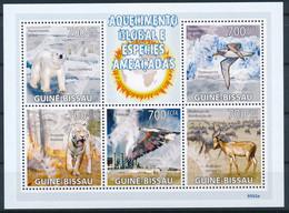 D - [401158]TB//**/Mnh-Guinée-Bissau 2009 - Réchauffement Climatique, Espèce Menacée, Ours Blanc, Tigres, Oiseaux - Clima & Meteorología