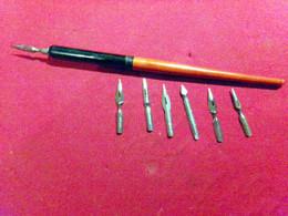 PORTE PLUME GILBERT BLANZY POURE AVEC 7 PLUMES Differente VOIR DETAIL - Pens