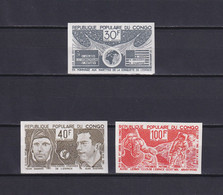 CONGO 1974, Mi# 412-414, Imperf, Proof In Different Color, Space, Cosmonaut, MNH - Collections