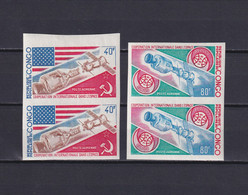 CONGO 1973, Mi# 394-395, Imperf, 2 Pairs, Space, Satellite, Flag, MNH - Collections