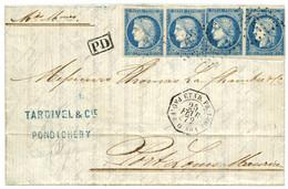 """""""PONDICHERY - LIGNE O"""" : 1872 COLONIES GENERALES 20c CERES N°12x4 (Cote Des Timbres Détachés = 560EUR) Obl. ANCRE + Cach - Zonder Classificatie"""