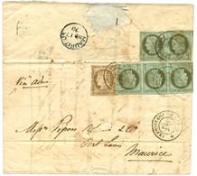"""""""Utilisation Du 1c CERES à PONDICHERY"""" : 1878 CG 1c CERES Bande De 3 + Paire (pd) + 30c CERES Obl. INDE PONDICHERY Sur L - Zonder Classificatie"""