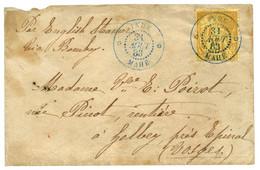 """""""INDE MAHE"""" : 1883 CG 25c Jaune Obl. INDE MAHE En Bleu Sur Enveloppe Pour La FRANCE. RARE. Superbe. - Zonder Classificatie"""