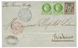 INDE : 1881 CG 5c CERES (x2) + 15c SAGE Gris Obl. INDE PONDICHERY Sur Lettre Pour La FRANCE. RARE. Superbe. - Zonder Classificatie