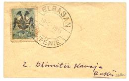 ALBANIA : 1913 1pi  Outremer (yvert N°7) Canc. ELBASAN On Envelope. Signed SCHELLER. Scarce. Superb. - Albanie