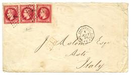 PANAMA Via ASPINWALL ( COLON)  : 1870 FRANCE 80c (x3) Canc. ANCHOR + ASPINWALL PAQ. FR. A N°1 On Envelope With Full Text - Panama