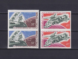 CONGO 1973, Mi# 398-399, Imperf, 2 Pairs, Space, Cosmonaut, MNH - Collections