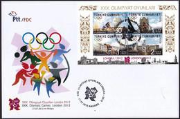 Turkey 2012 FDC  30th OLYMPIC GAMES LONDON Jeux Olympic JO OG - Verano 2012: Londres
