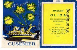 Calendrier Petit Format 1958 Magasin Olida Paris Comestibles Cusenier Cognac Eau De Vie Liqueurs Courneuve Marseille - Small : 1941-60