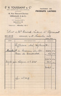 18401  32-1503   1943 TRAITEMENT DES PRODUITS LAITIERS ETS R TOUSSAINT A VERSAILLES - M. REMOND LAITERIE D AGRAMONT - 1900 – 1949