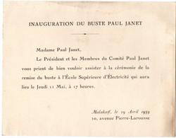 SUPELEC - Carton Inauguration Du Buste De Paul Janet - Malakoff 1959 - Diploma & School Reports