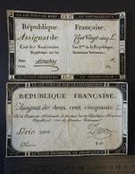 2x Assignat République Française- 250 Livres, Serie 3008, DREUX + 125 LIivres, Serie 1424, HOMBERT -7 Vendémiaire L'an 2 - Assignate