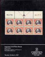 Auction Catalogue - United States - Christie's Robson Lowe 6 Oct 1987 - Incl The Creighton C Hart Coll Prices - Other