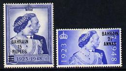 Bahrain 1948 KG6 Royal Silver Wedding Set Of 2 Mounted Mint SG 61-62 - Bahrain (...-1965)