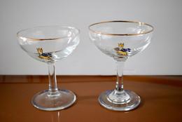 2 Coupes à Champagne Babycham - Modèle Rare Jaune - Bon état - Glasses