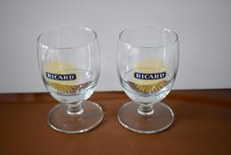 2 Verres Ricard Grand Soleil Ancien Modèle - 17 Cl - 10 Cm - Très Bon état - Glasses