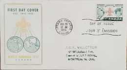 A) 1955, CANADA, SCOUTS, FROM OTTAWA TO MONTREAL, FDC, VIII WORLD MEETING - NIAGARA - Cartas