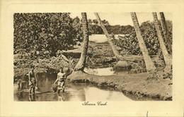 Cook Islands, Natives In Avana Creek (1920s) Postcard - Cook Islands